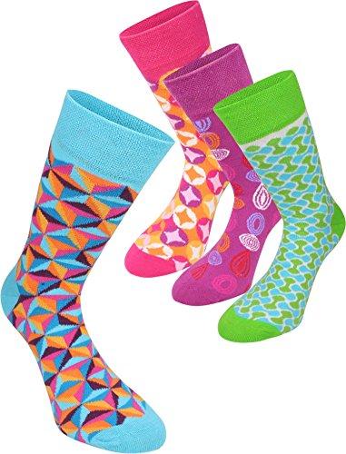 Circle Five 3 oder 6 Paar Bunte Socken - Söckchen in verschiedenen Designs Farbe 70's Style Größe 6 Paar 39/42 - Sechs Söckchen