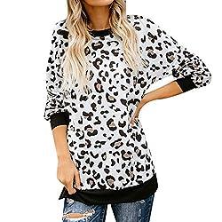 Mode Damen Bekleidung O-Kragen Nähen Leopard Lange Ärmel Shirt Top