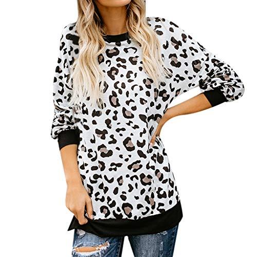 Mode Damen Bekleidung O-Kragen Nähen Leopard Lange Ärmel Shirt Top -