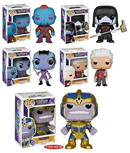 Pop! Marvel: Guardians of the Galaxy Series 2 Full Set of 5 Figures (Yondu, Ronan, Nebula, The Collector & 6' Thanos!) by Funko