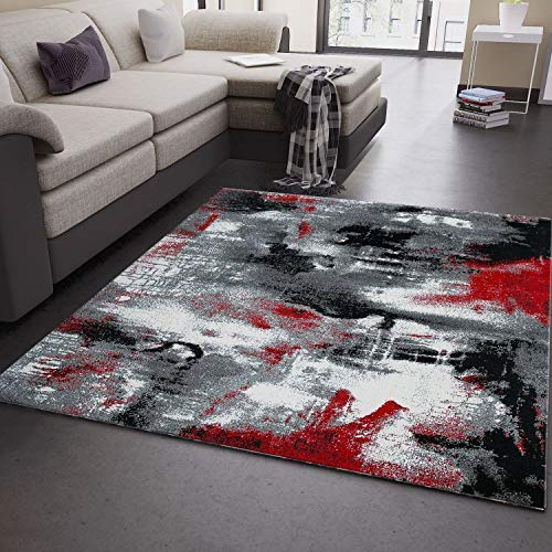 VIMODA Teppich Design Kunstvoll Abstrakt in Grau Rot Schwarz, Maße:160x230 cm