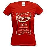 Geschenkidee Frauen Geschenk zum 60. Geburtstag :-: Damen kurzarm T-Shirt Original seit 60 Jahren :-: Geburtstagsgeschenk Mama Oma Schwester Freundin Farbe: rot Gr: L