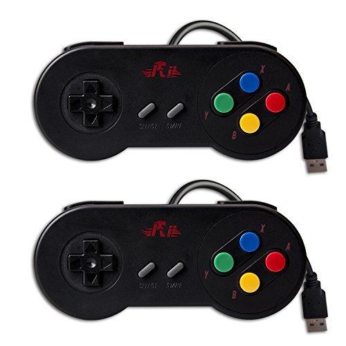 Rii GP100 SNES Retro USB Super Nintendo Controller, USB PC Controller, Raspberry Pi Controller for Windows PC/MAC/Raspberry Pi (2 Pack) (Black)