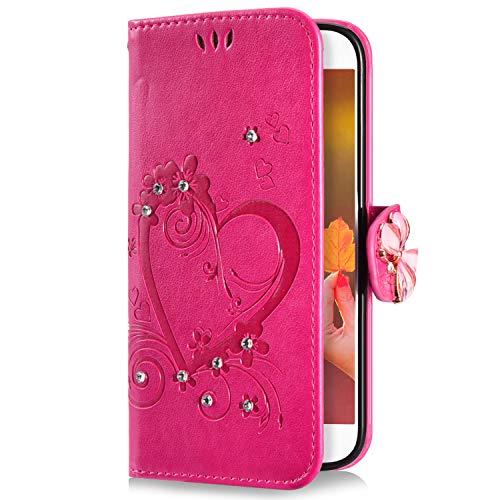 Uposao Kompatibel mit Huawei P8 Lite 2017 Handyhülle Schmetterling Liebe Blumen Muster Glitzer Diamant Bling Schutzhülle Flip Case Cover Brieftasche Klapphülle Leder Hülle,Rose Pink