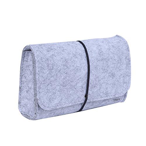 FHQSX Filz Aufbewahrungstasche Taschenorganizer Mini Hülle für Zubehör und Accessoires Maus Kabel Hellgrau