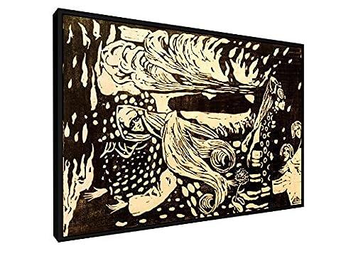 Wassily Kandinsky - Fuga - Holzschnitt 1907 - 60x40 cm - Leinwandbild mit Schattenfugenrahmen - Wand-Bild - Kunst, Gemälde, Foto, Bild auf Leinwand mit Rahmen - Alte Meister / (Russische Folklore Kostüme)