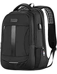 Anti-Theft Laptop Backpack 15.6-17 Inch Business Travel Work Computer Rucksack with USB Charging Port Water Resistant Large College High School Bag for Boys Men Black