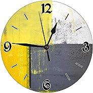 10 بوصة رمادي وأصفر ديكور ساعة الحائط ، غير نظامية هندسية شارع حديث روك مجردة مربع - صامت ، أفضل هدية لأحبائك