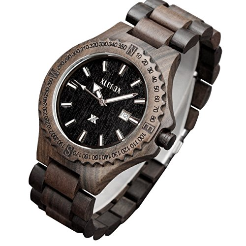XLORDX Classic Herren Sandalholz Schwarz Datum Armbanduhr Quartz Analog - Klappe Zebra