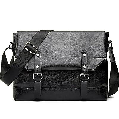Outreo Sac Besace Cuir Sac bandoulière Homme Sac Porté épaule Vintage Sacoche de Cours Sac Voyage Mallette pour Tablette Sport Bag
