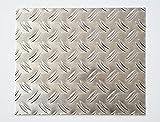 bestell-dein-Blech Metall Aluminium Riffelblech duett 2,5/4,0 mm stark - Tränenblech / Warzenblech Zuschnitt aus Alu Blech geriffelt walzblank natur Zuschnitt nach Maß Größe: 50 x 50 cm (500 x 500 mm)