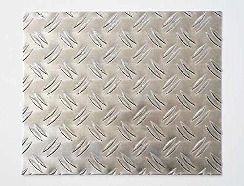 bestell-dein-Blech Metall Aluminium Riffelblech duett 2,5/4,0 mm stark - Tränenblech / Warzenblech Zuschnitt aus Alu Blech geriffelt walzblank natur Zuschnitt nach Maß Größe: 40 x 40 cm (400 x 400 mm)
