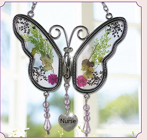 Stained Glass Suncatchers For Windows Nurse Butterfly Nurse Suncatchers With Pressed Flower Glass Butterfly with Metal Nurse Heart -Nurse Birthday Gifts for Nurse- Gifts for Nurse`s Day