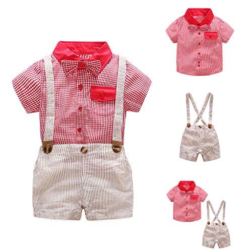JUTOO 2 Stücke Set Infant Baby Boy Gentleman Anzug Plaid Fliege Hemd + Hosenträger Shorts Outfit Set ()