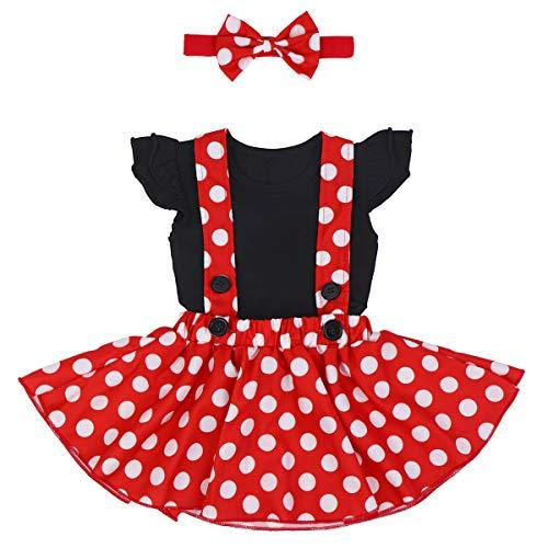 Costume per halloween o carnevale da minnie, per bambina polka dots tutu principessa abiti estivo ragazze vestito per festa cerimonia carnevale compleanno comunione ballerina prom 18-24 mesi