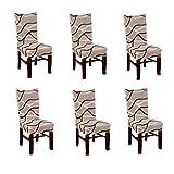 Nibesser 6×Stuhlhussen Stretch Stuhlbezug Dekoration Stuhlüberzug für Universelle Passform (Style...