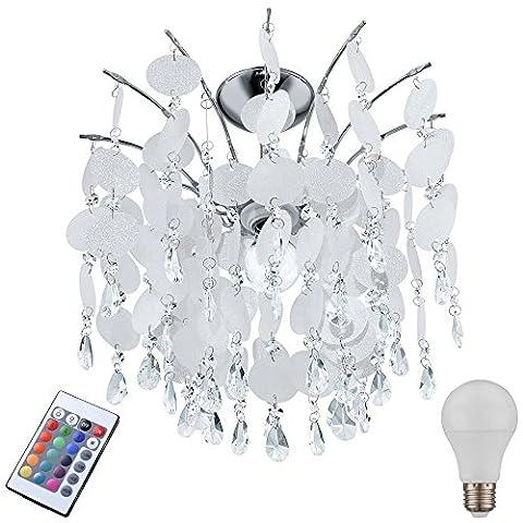 High quality ceiling lamp acrylic Crystal hanging lighting set including RGB LED bulb