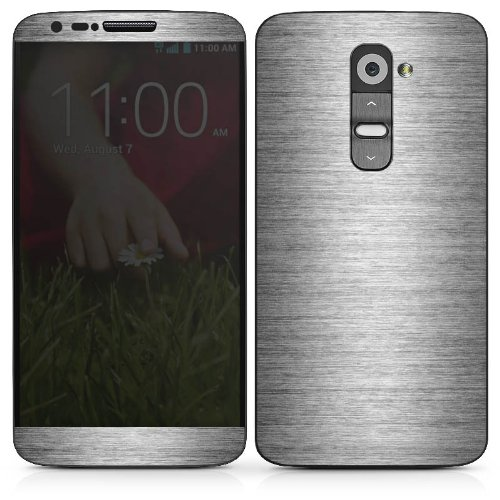 LG G 2 Case Skin Sticker aus Vinyl-Folie Aufkleber Metal Look Silber Glitzer Metall