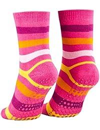 2 Paar Kinder Stoppersocken ABS Socken | Anti Rutschsocken mit Noppen aus Baumwolle | Jungen Mädchen mit Geringelt Blau Rosa Gr. 23-26 27-30 31-34 - Piarini