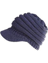 965a4ed45b2 Amknn Womens Ponytail Beanie Knit Hat Warm Soft Strech Winter Skull Hat  Stretch
