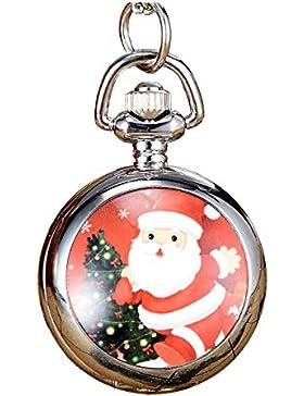 JSDDE Weihnachtsuhr Cute Weihnachtsmann Taschenuhr Klassische Modische Xmas Umhängeuhr Kettenuhr Quarz Uhren,#5