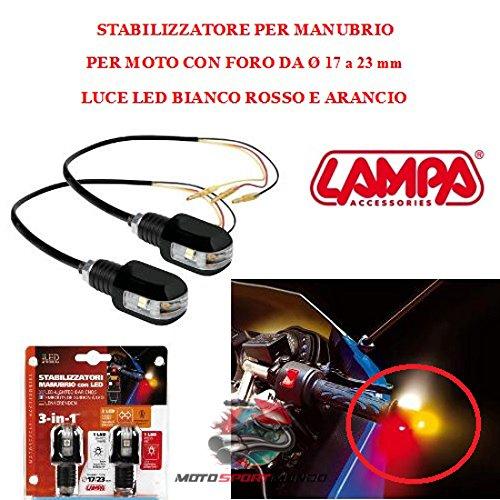 BILANCIERI FINE MANOPOLE LAMPA 90240 LUCE PER MANUBRIO MOTO CON FORO DA Ø 17 A 23MM 1 LED BIANCO 1 LED ROSSO 2 LED ARANCIO