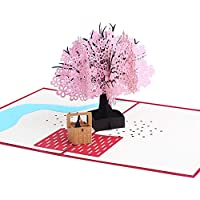 Haodou 3D Rosa Impresión Sakura árbol Pop Up Tarjeta de Felicitación Flores Corte Sobre Postal Tallado Hecho A Mano Tarjeta