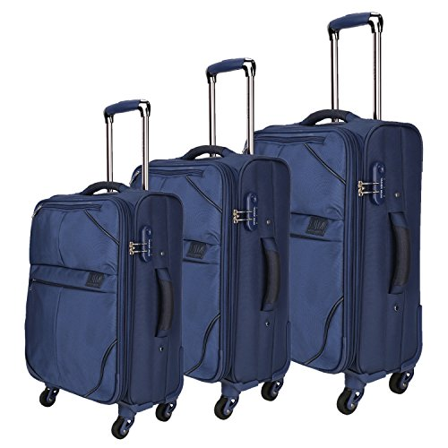 Nasher Miles Brunei Soft-Sided Luggage Set of 3 Blue Trolley/Travel/Tourist Bags (55, 65 & 75 Cm)