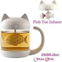 Taza de té de cristal del gato Taza De Agua Bottle-With Fish Tea Filtro filtro de infusión 250ml (8oz)