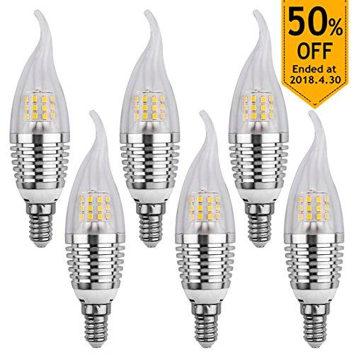 LEDMO 6-Pack Ampoules LED E14 Blanc 6000K 7W 630lm, led candle light Ampoules LED Flamme, Équivalent 60W pour lustre chandelier cristal(Flamme Tip,6000K)