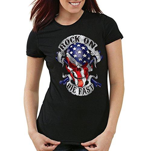 style3 USA Rocker Skull Damen T-Shirt Biker US Flagge Totenkopf, Farbe:Schwarz, Größe:XL