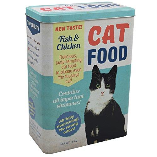Vorratsdose XL Futterbox für Katze - Futter aufbewahrung Katzenfutter futter container aus Aluminum - mit klappbaren Deckel - 24,8 x 18 x 10 cm - bis zu 4 Liter - Pet Metall Storage Food