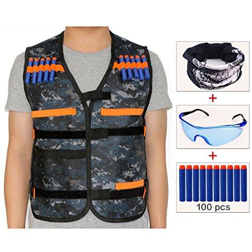 COSORO Kinder Elite Taktische Weste Jacke Kit für Nerf Gun N-strike Elite Series Pistole (kommt mit Gesichtsmaske + Schutzbrille + 100er Darts Pfeile) (Tarnung)