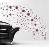 Wandtattoo Sterne Farbe: rot , Sehr grosses Format 120 St = 4 Stück 9x9cm, 4 St 7x7cm, 16 St 3x3cm, 36 St 4x4cm, 60 St 2x2cm XXL. Motiv-Nr 6022 , Decosticker Wandaufkleber Wandsticker Dekoration wiederablösbar. Günstiger als Bilder oder Gemälde oder Bild