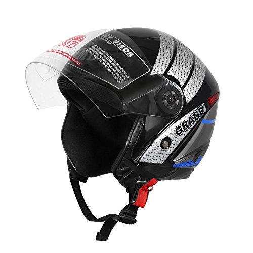 JMD HELMETS Polystyrene EPS Grand Decor Matt Finish Helmet (Black, Blue, Medium)