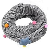 Otoño Invierno Bufanda para Bebé Niños Niñas,Gypsophila Tejer Algodón O Ring Pañuelos By VENMO (gris)