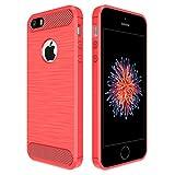 Simpeak Ersatz iPhone SE Hülle Rot, Premium Weiche Karbonfaser Elastisch Schützendes Rückseiten-Case Ersatz iPhone SE 5S 5[Fallschutz] [Rutschfest] [Kratzfest]