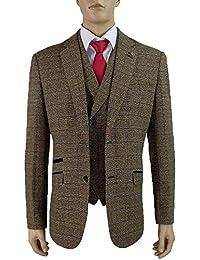 Uomo Misto Lana Tweed A Quadretti Blazers Gilet Pantaloni 3 Pezzi Abiti By  Cavani b3d9aabd956