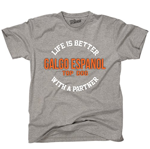 Siviwonder Unisex T-Shirt GALGO ESPANOL - LIFE IS BETTER PARTNER Hunde Sports Grey
