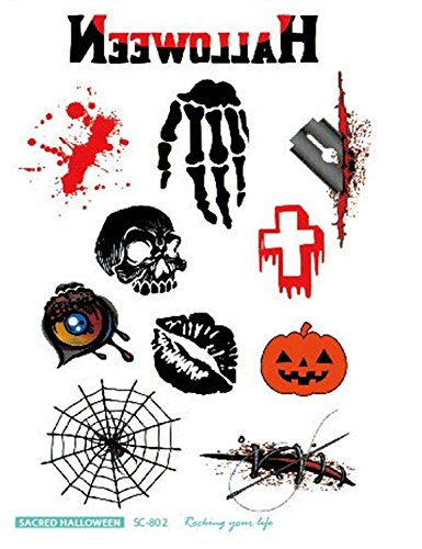 Primi special design funny water film paper halloween tattoo stickers-pack di 8