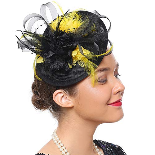Kostüm Hut Gelbe - Coucoland Feder Fascinators Hut Damen 1920s Stirnband Elegant Fascinator Feder Haarreif Cocktail Tee Party Greaty Gatsby Party Damen Fasching Kostüm Accessoires (Gelb)