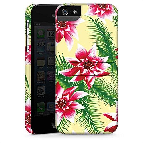 Apple iPhone 5s Housse Étui Protection Coque Été Fleurs Fleurs CasStandup blanc