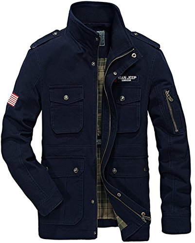 WS668 Hommes Manche Longue Stand Collar Cotton Lightweight Zip Manteaux Classic Bomber Veste Mens Coat Casual Jackets Bleu