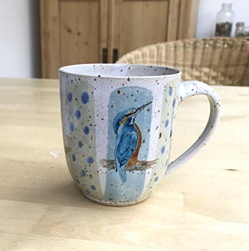 Kaffee Becher türkisblau/grün mit Eisvogel-getöpfert