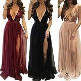 Damen Lang Kleid Sexy V-Ausschnitt Rückenfrei Pailletten Satin Maxi Kleid Partykleid Abendkleid mit Schlitz
