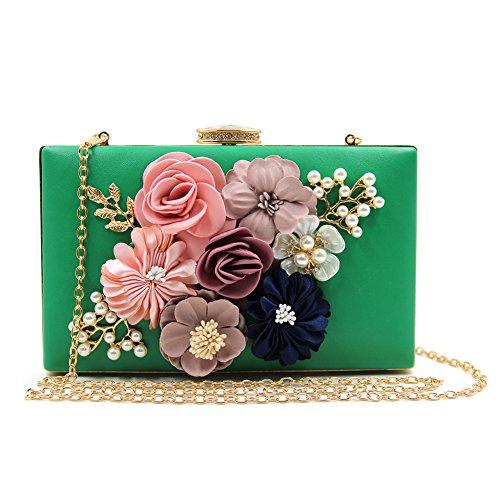 Koola's Femmes Satin Fleur Pochettes de Soirée Perle Perlée Soirée Mariée Sac à Main De Mariage