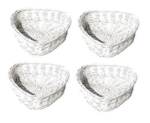 topfurnishing Herzförmig Weiß Vorgewaschen Flechtweide Ostern Hochzeit Weihnachten Geschenkkorb Aufbewahrung Geschenk Korb - Weiß, Set of 4 Large