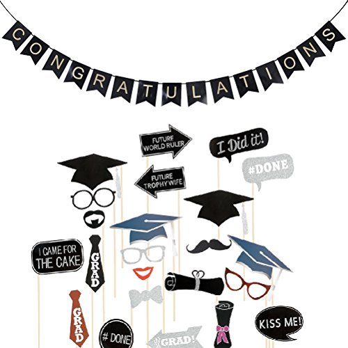 Foto Requisiten und Congratulations Banner Graduation Party Dekoration ()