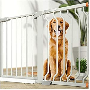 MOM Pet Playpens Door,Extra Wide Child Pet Garden Safety Gates,Garden Fence Dual Lock Self Closing Dog Isolation Aisle Door,Metal Play Area Stairs Guardrail Gate,White,W 355-362cm   8