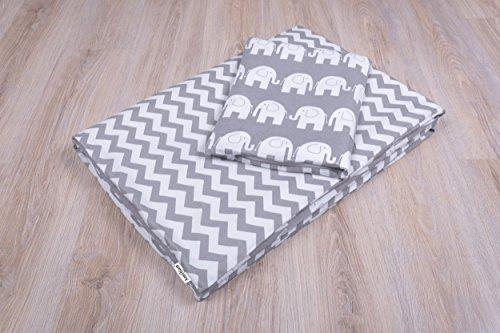 Amilian® Baby Bettwäsche Design:Elefant GRAU Größe 100x135 cm (40x60 cm) Bettset Kinderbettwäsche